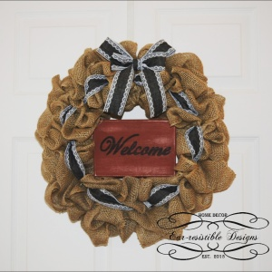 Burlap & Denim Ribbon Welcome Wreath