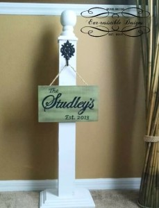 Post & Distressed Hanging Sign Combo