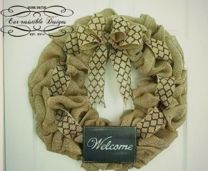 Burlap Wreath with Wooden Welcome Sign