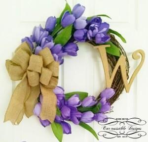 Purple Tulips | Burlap Bow | Initial | Grapevine Wreath