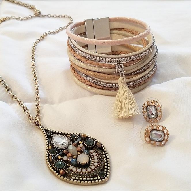 Pendant, tassel bracelet, earrings